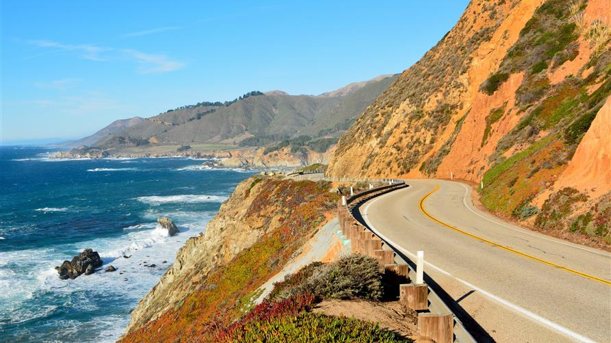 Aerial shot of Pacific Coast Highway 1 in California.