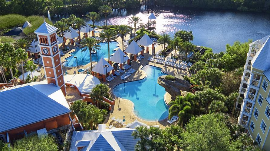 Areal view of the Hilton Grand Vacations at SeaWorld resort in Orlando, Florida.