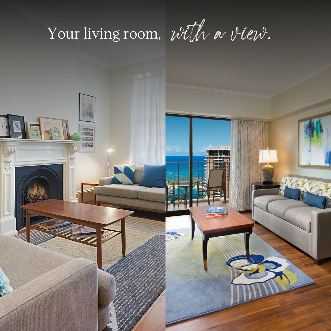 A side by side picture of a Hilton Grand Vacations suite living room and a residential living space for a home away of from home comparison.