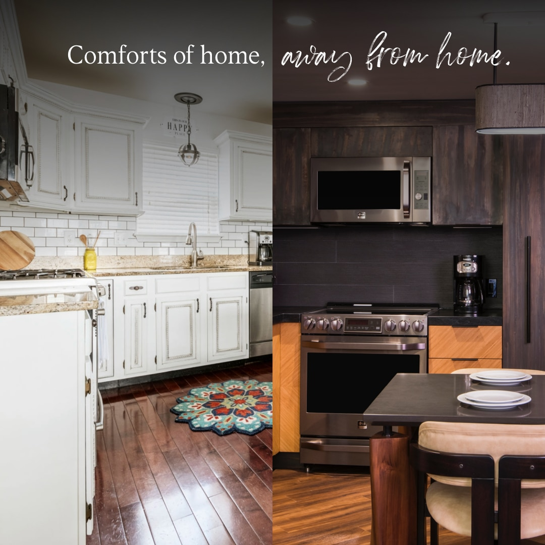 A side by side picture of a Hilton Grand Vacations suite kitchen and a residential kitchen for a home away of from home comparison.