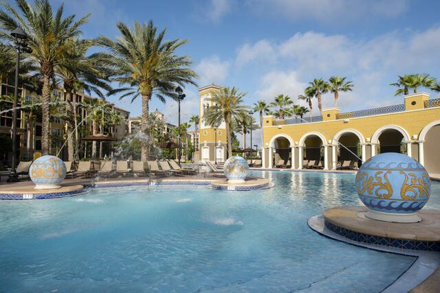 A poolside view at Hilton Grand Vacations Tuscany Village in Orlando, Florida.