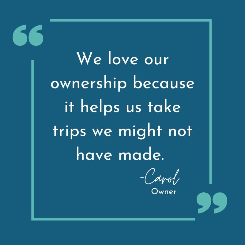 A picture quote from one Owner about why her Hilton Grand Vacations Timeshare is worth it.