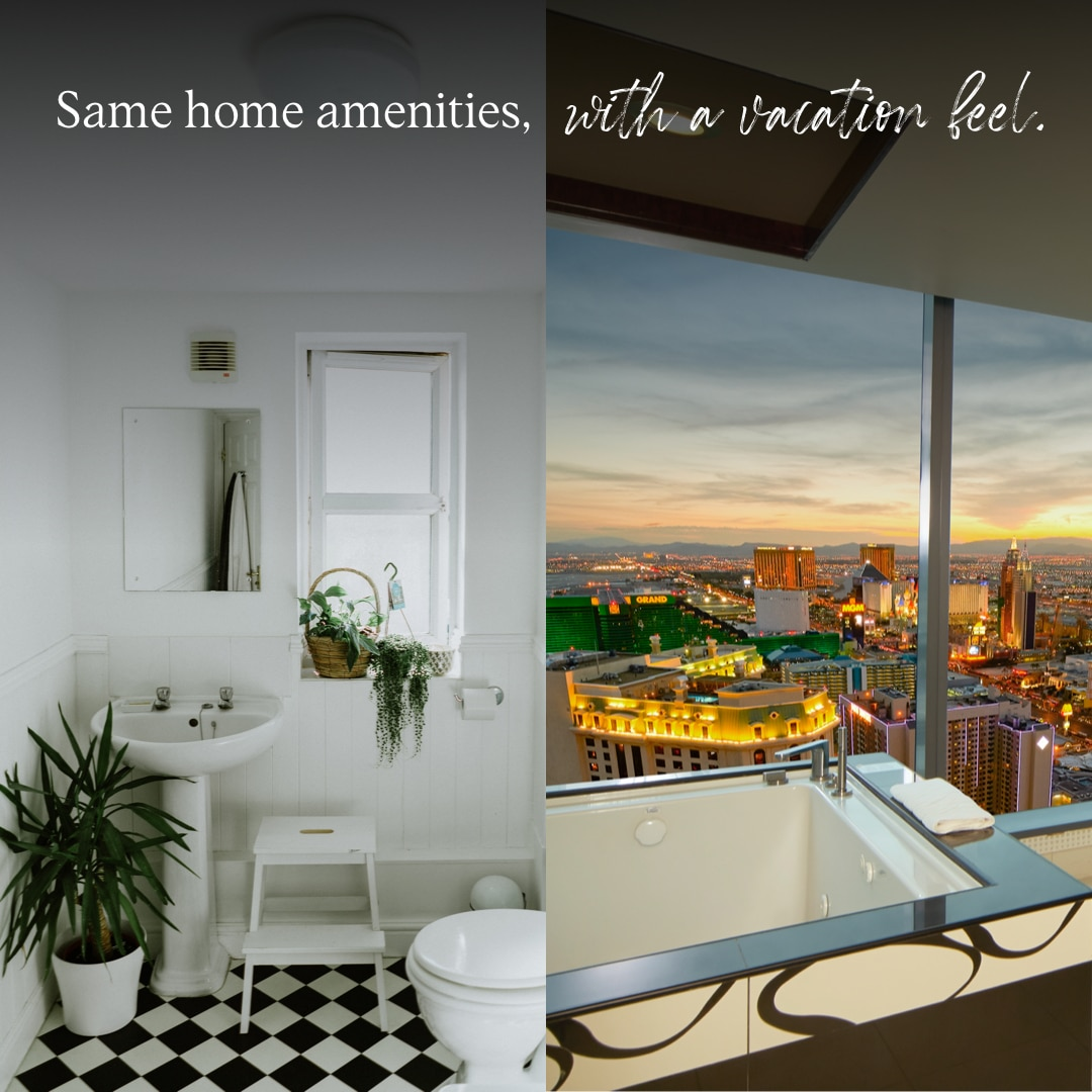 Side by side image comparing a home bathroom and a Hilton Grand Vacations bathroom on the Las Vegas Strip.