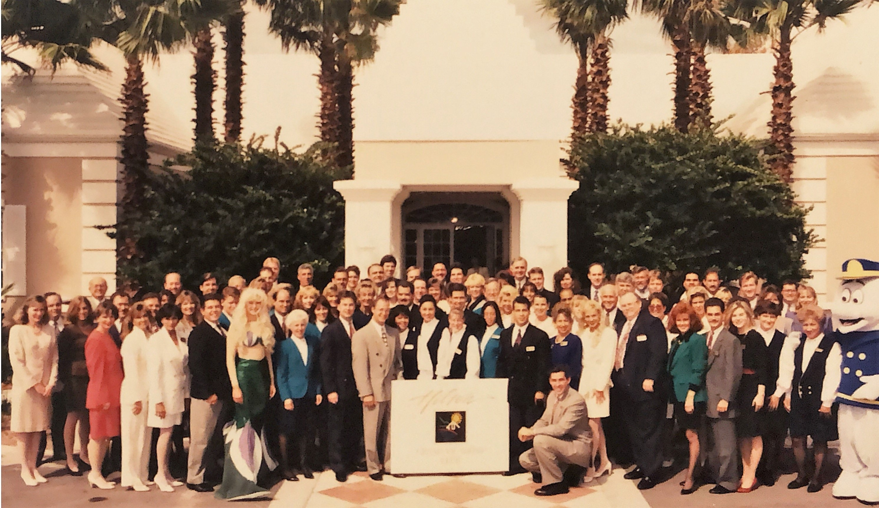Hilton Grand Vacations at SeaWorld team on opening day in 1995 in Orlando, Florida.