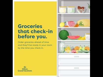 Infographic explaining Hilton Grand Vacations stock my fridge service.