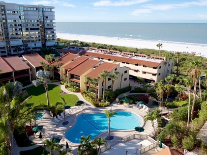 Aerial view of Hilton Grand Vacations exchange resort Club Regency of Marco Island in Florida.