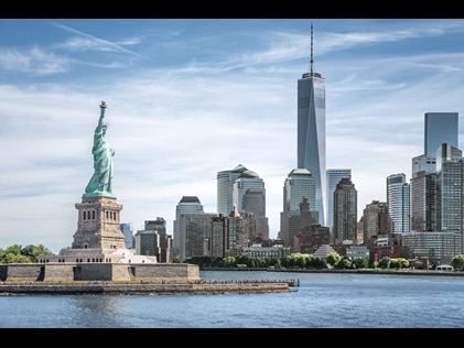 New York City Skyline with the Statue of Liberty.