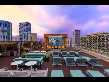Roof top movie theater at Hokulani Waikiki by Hilton Grand Vacations in Hawaii.