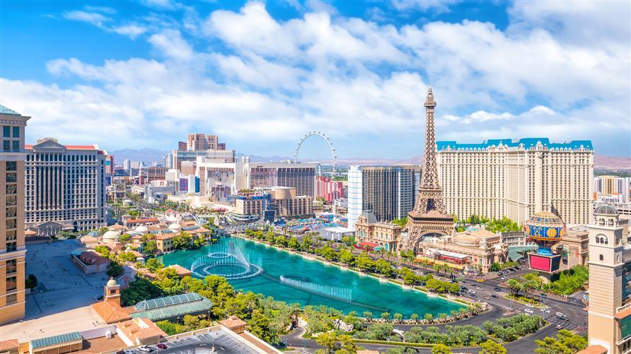 Las Vegas skyline on a clear blue day.
