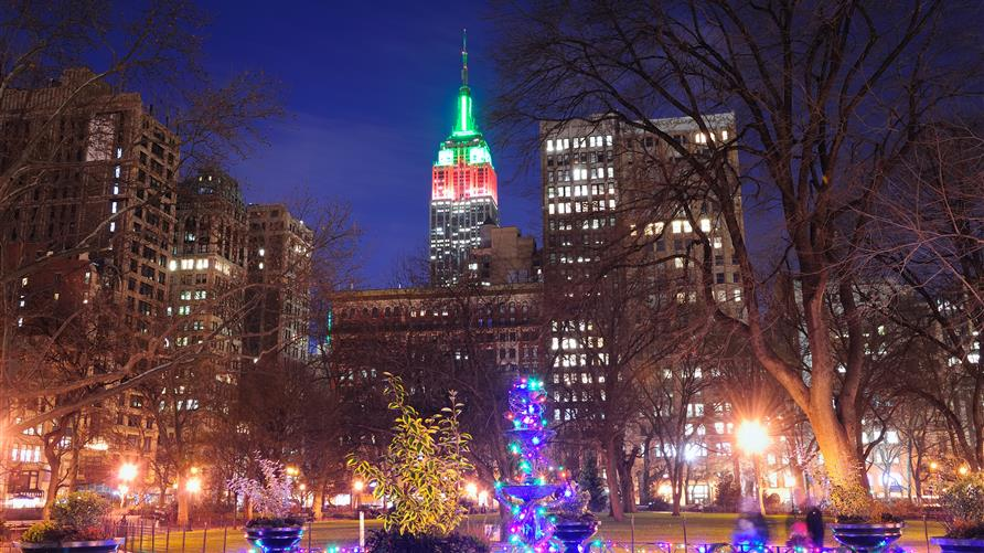 Empire State Building lit up for Christmas in New York City.