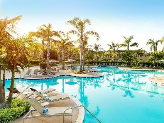 The Hilton Grand Vacations at MarBrisa pool in Carlsbad, California.