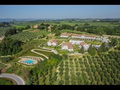 Aerial shot of Hilton Grand Vacations at Borgo alle Vigne in Tuscany, Italy.