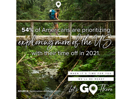 National Plan for Vacation Day promotional image of a woman walking across a bridge in the rainforest.