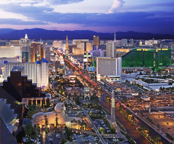 Aerial view of the Vegas Strip.