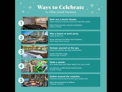 Infographic detailing seven ways to celebrate with Hilton Grand Vacations.
