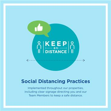 Hilton CleanStay Graphic promoting social distancing to stay safe and health while traveling with Hilton Grand Vacations.