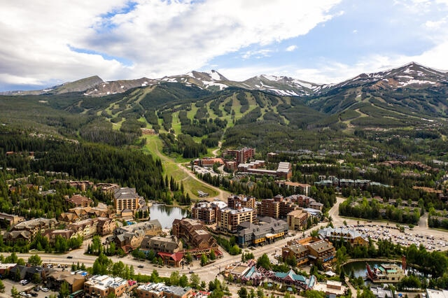 Aerial view of Breckenridge, Colorado during warmer months.