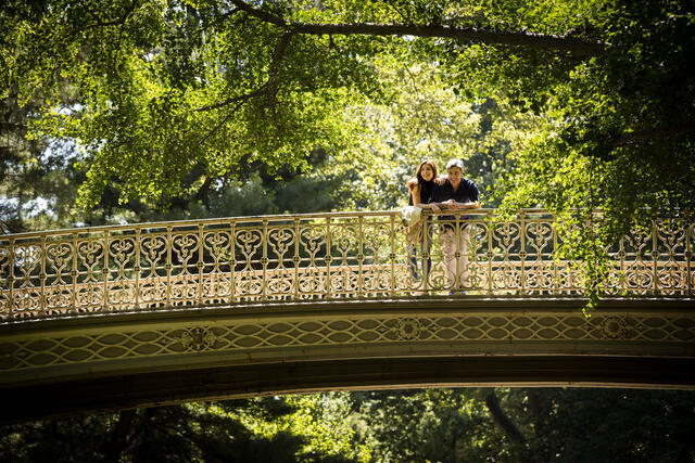 Couple standing together and enjoying romantic scenery on bridge in Central Park in New York City.