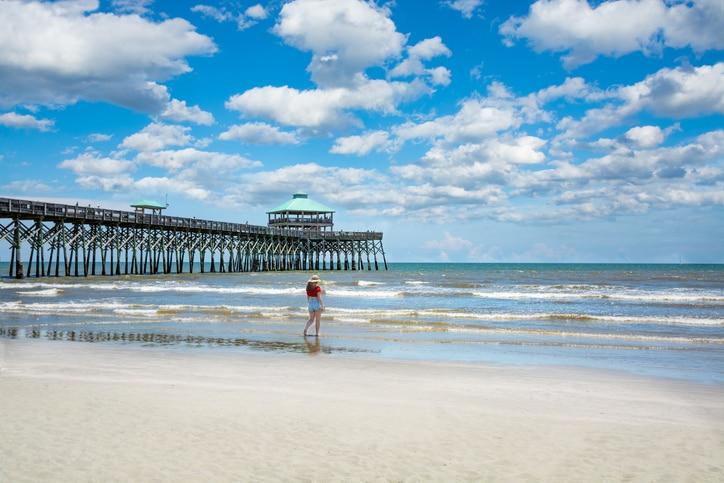 Adolescent girl on Folly Beach in Charleston, South Carolina.