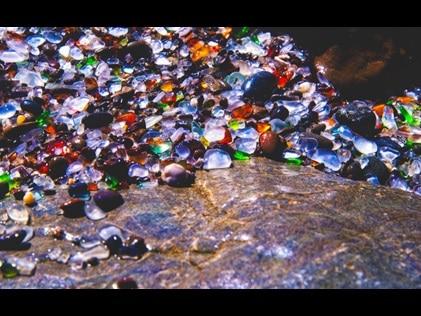 Close up of sea glass at Glass Beach Ft. Bragg, California.