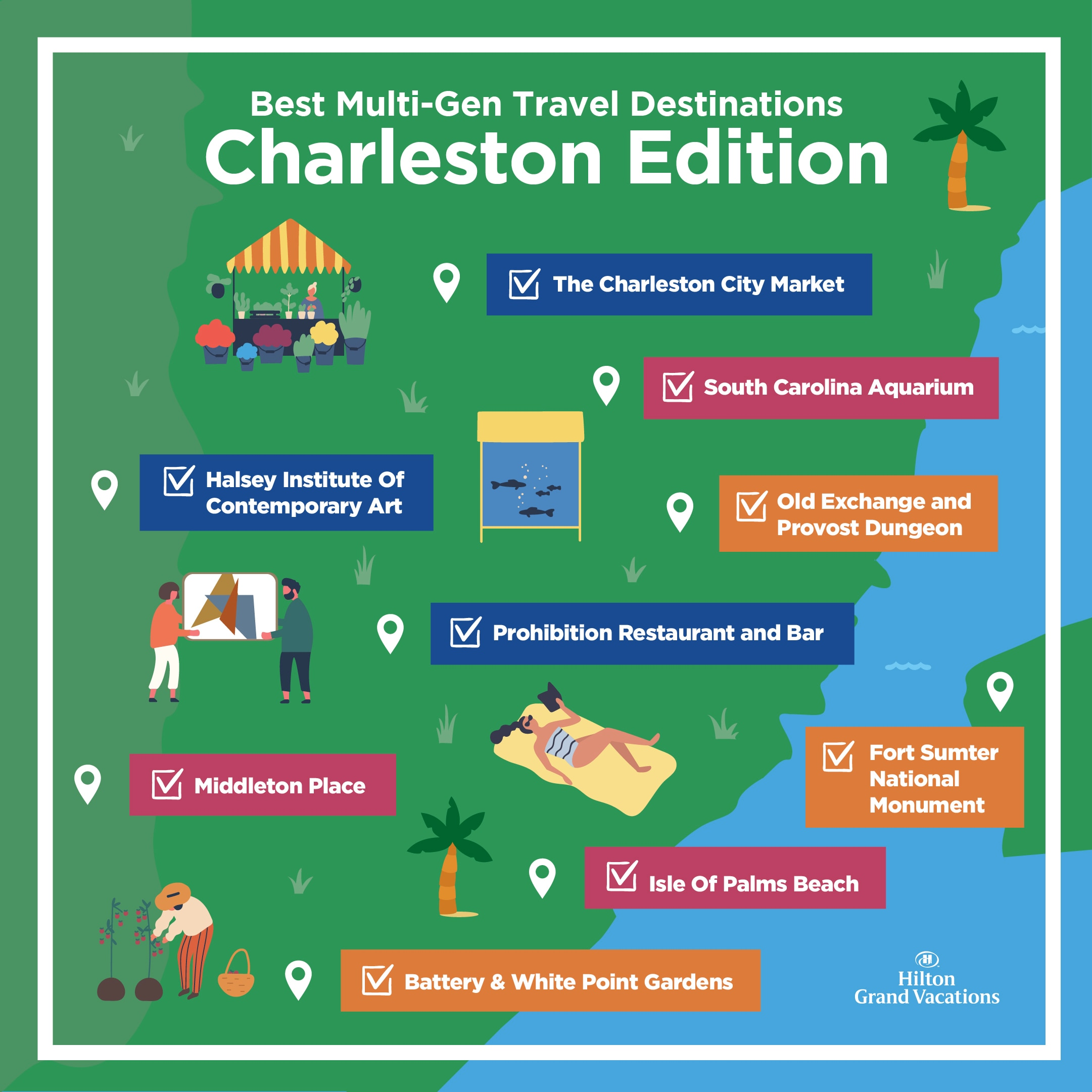 Infographic map explaining things to do in Charleston, South Carolina.