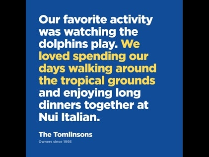 Picture quote from Hilton Grand Vacations Owner on things to do at Ocean Tower by Hilton Grand Vacations Big Island resort.