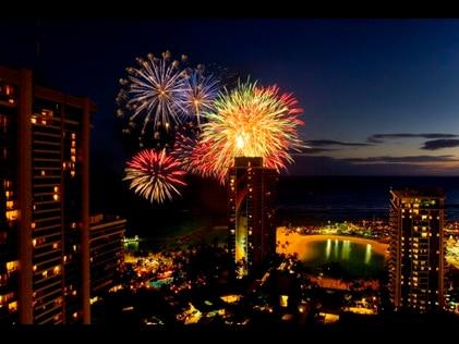 Friday night fireworks at Hilton Hawaiian Village on Oahu in Hawaii.