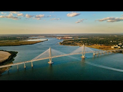 Aerial shot of New Cooper River Bridge in Charleston, South Carolina.