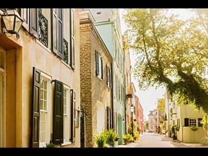 Colorful houses along Rainbow Row in Charleston, South Carolina.
