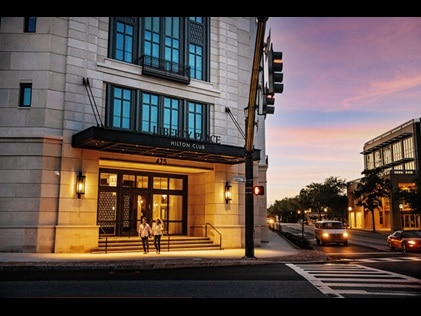 Exterior shot at sunset of Liberty Place by Hilton Club in Charleston, South Carolina.