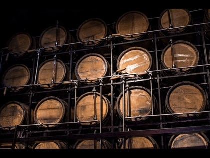 Wall lined with barrels of whisky.