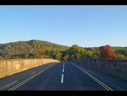 Open road in Dunkeld, Scotland.