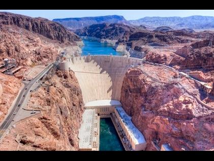 Aerial shot of Hover Dam in Las Vegas, Nevada.