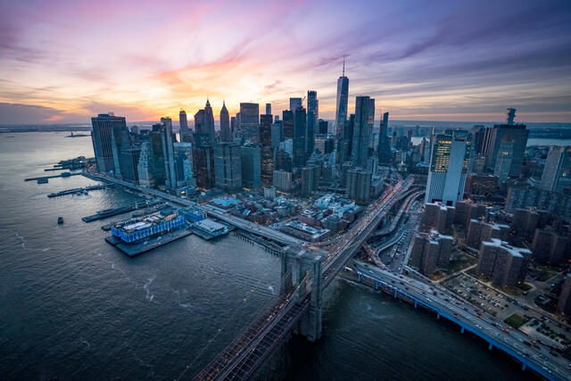 Aerial view of the island of Manhattan in New York.
