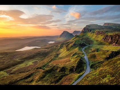 Scenic aerial shot of the Scottish Highlands.