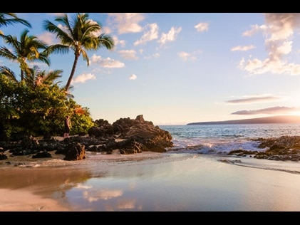 Picturesque  shoreline at sunset Maui, Hawaii.