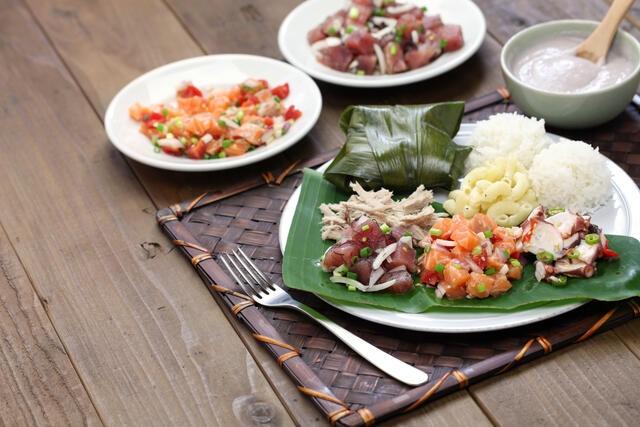 Shot of beautifully plated Hawaiian foods, Big Island, Hawaii.