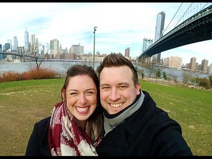 Hilton Grand Vacations Owners snapping a selfie at Dumbo on a New York City date.