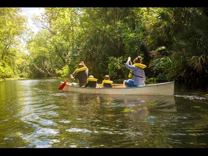 Family canoeing down a Florida tree-lined waterway.