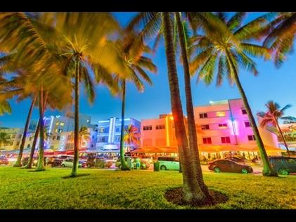 Ocean Drive lighting up the night sky in Miami Beach, Florida.