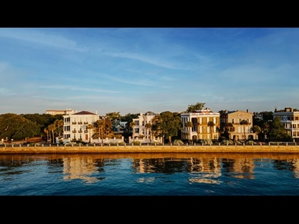 View of the Charleston Battery district from the water in South Carolina.
