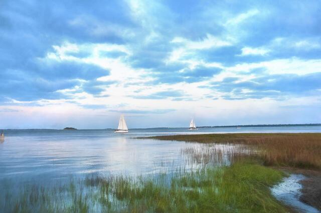 Sail boats on a Charleston, South Carolina, waterway.