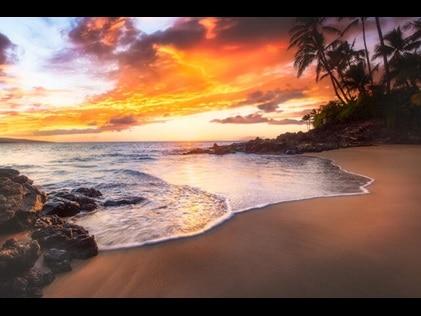 Stunning sunset at a Maui beach, Hawaii.