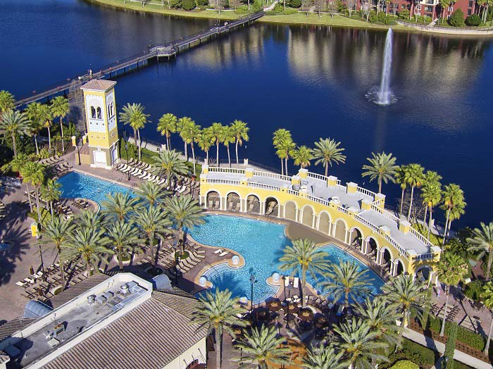 Aerial view of Hilton Grand Vacations' Tuscany Village in Orlando, Florida.
