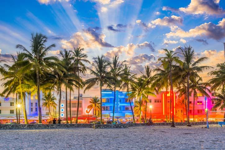 Colorful South Beach in Miami, Florida.