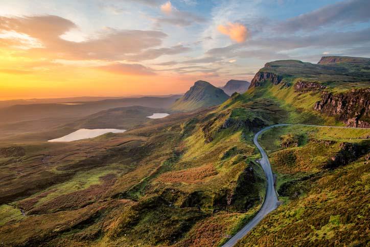 Sunrise over the Scottish Highlands.