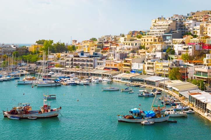 A boat line coastline in Greece.