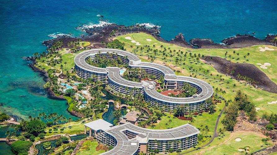 Aerial view of Ocean Tower by Hilton Grand Vacations on the Big Island of Hawaii.