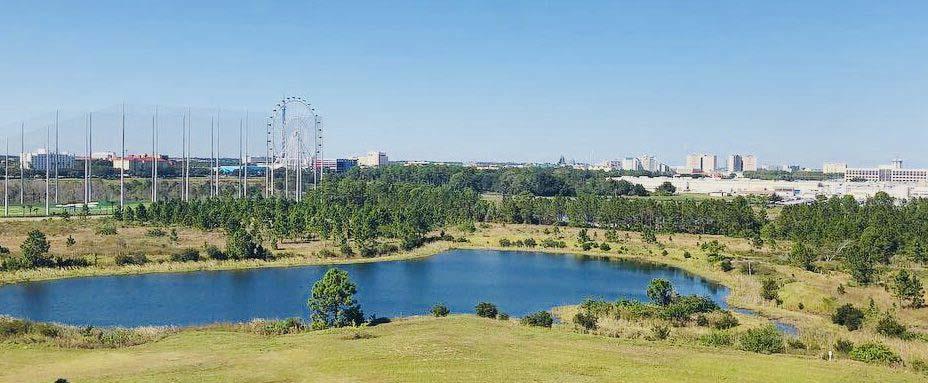 Aerial view of Las Palmeras, a Hilton Grand Vacations Club in Orlando, Florida.