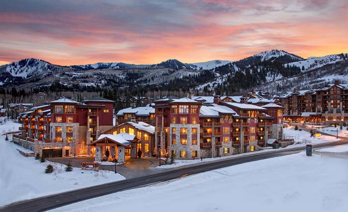 Sunset over Hilton Grand Vacations at Sunrise Lodge and the mountains in Park City, Utah.